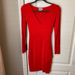 ASOS Asymmetrical Red L/S Bodycon Dress
